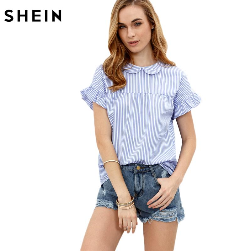 9ab12359b3c 2019 SHEIN Ladies Tops Blue Blouses In Women Summer Blue Striped Peter Pan  Collar Short Sleeve Blouse Women Casual Blouses From Bishops