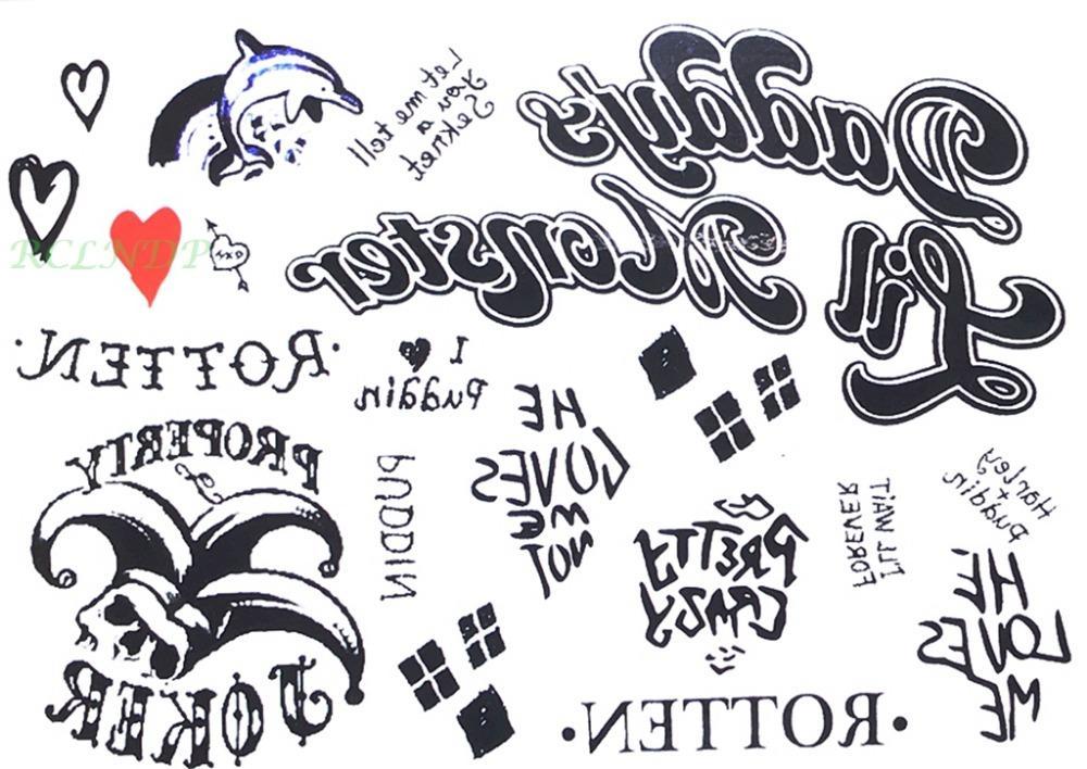 waterproof temporary tattoo sticker suicide squad harley quinn joker clown dolphin heart tatto