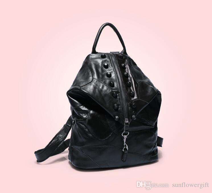 Nuovo arrivo in vera pelle colorato Rivat moda viaggio zaino donne casual borse da viaggio i disponibili signore pulsante stile europeo