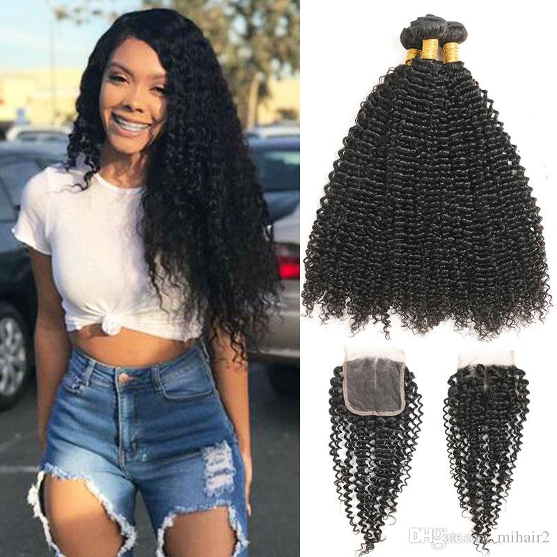 Indian Afro Kinky Curly Hair Weave 3 Bundles With Closure Top Human