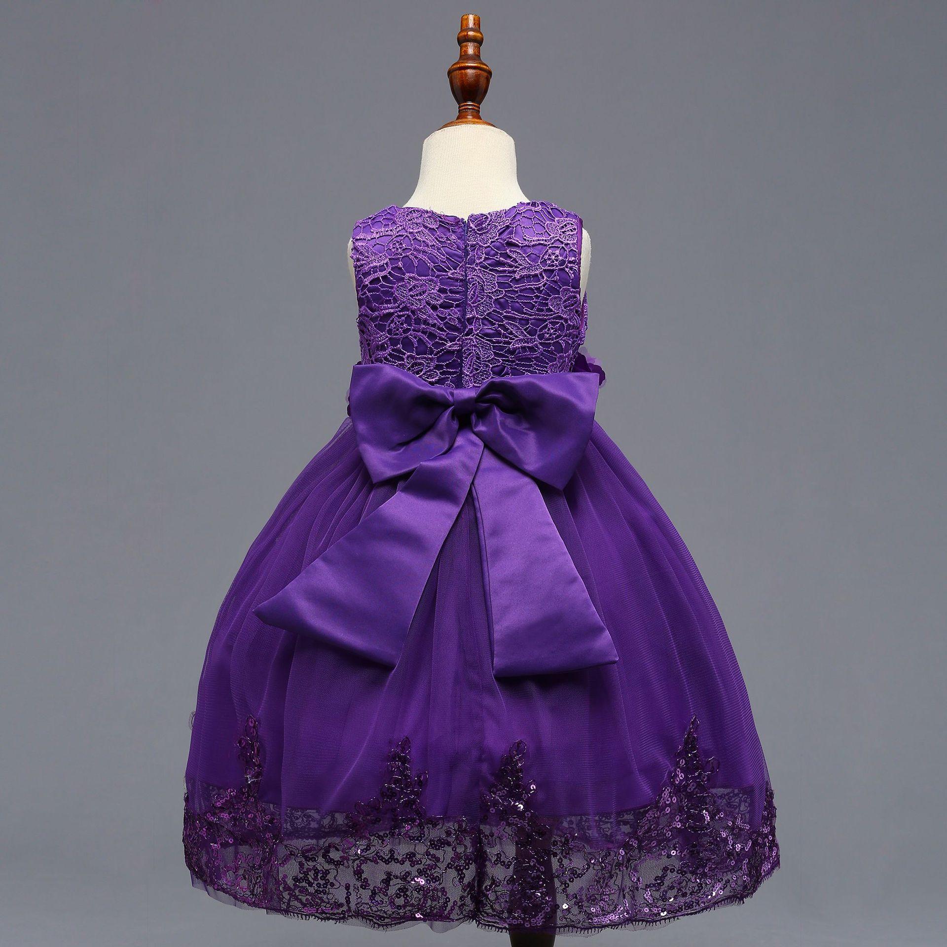 vestido de comunion i O-Collo motivo floreale Bow Bling paillettes principessa dei capretti ragazze di fiore del vestito da spettacolo del partito