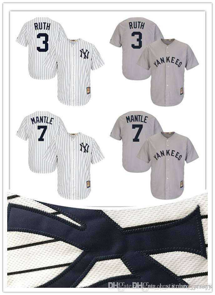 37e0a702e99 2017 New York Yankees Jersey Mickey Mantle Babe Ruth Majestic Gray ...