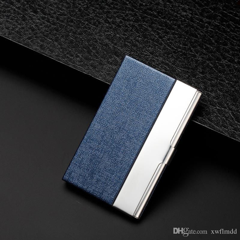 Großhandel Kreative Visitenkarte Fall Edelstahl Aluminium Halter Metall Box Cover Credit Visitenkartenhalter Karte Metall Brieftasche Männer 6 Farben