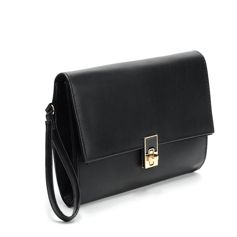 f4963622fb3e 2017 New Women Leather Clutches Girls Black Envelope Handbags Vintage Ladies  Hand Bags Purse And Wallets Femme A Main Black Handbag Black Clutch From ...