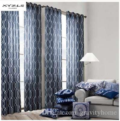 2019 XYZLS Grommet Geometric Pattern Curtains Blue Window Treatment For  Living Room Bedroom Curtain Drapes From Gravityhome, $63.32 | DHgate.Com