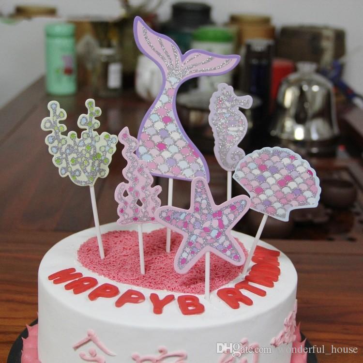 Cake Decorations Flag 2 Designs Glitter Paper Mermaid Tail Starfish