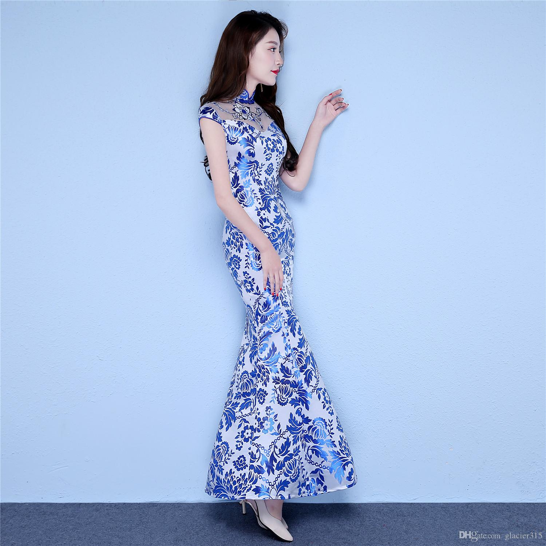 Shanghai Story Chinese Style Dress Long Qipao Short Sleeve Faux Silk blue and white porcelain dress Mermaid Cheongsam dress for Women