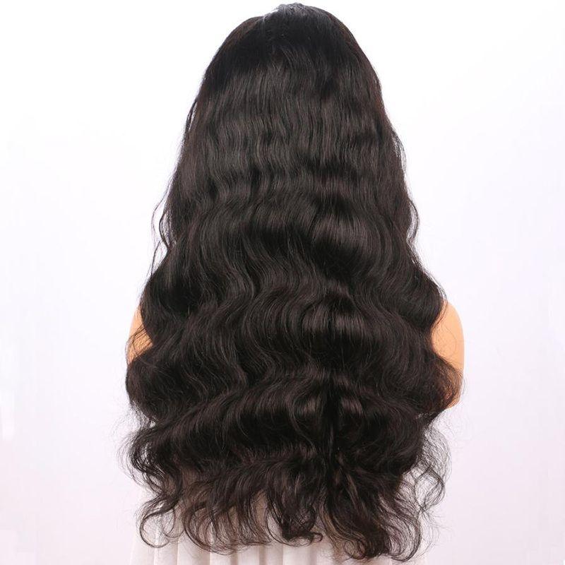 Corps vague de cheveux humains avant de lacet perruques avec des cheveux de bébé préplucked perruques de cheveux vierges brésiliens pour les femmes noires couleur naturelle 12-24 pouces
