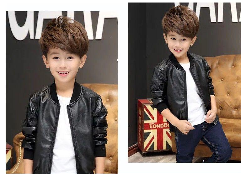 2018 Boys Pu Leather Jackets Big Boy Casual Coats Kids Zipper Outwear Black/Brown 100-160cm Retail