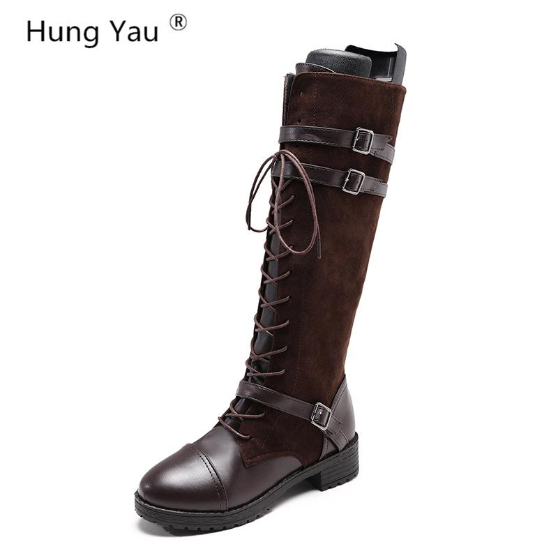 928626a4927b9 Hung Yau Over The Knee Boots Party Trendy Style Lace Up Zipper Square Heel  Women Shoes Woman Long Leather Boots Plus Size 35 43 Fashion Shoes Winter  Shoes ...