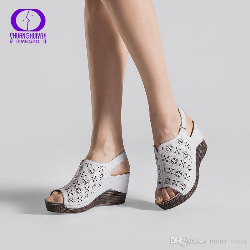 489d07bc Compre 2018 Nuevo Verano Sandalias De Cuña Sandalias De Las Mujeres Zapatos  De Plataforma De Punta De Pescado Abierto Zapatos De Tacón Alto Slingbacks  ...