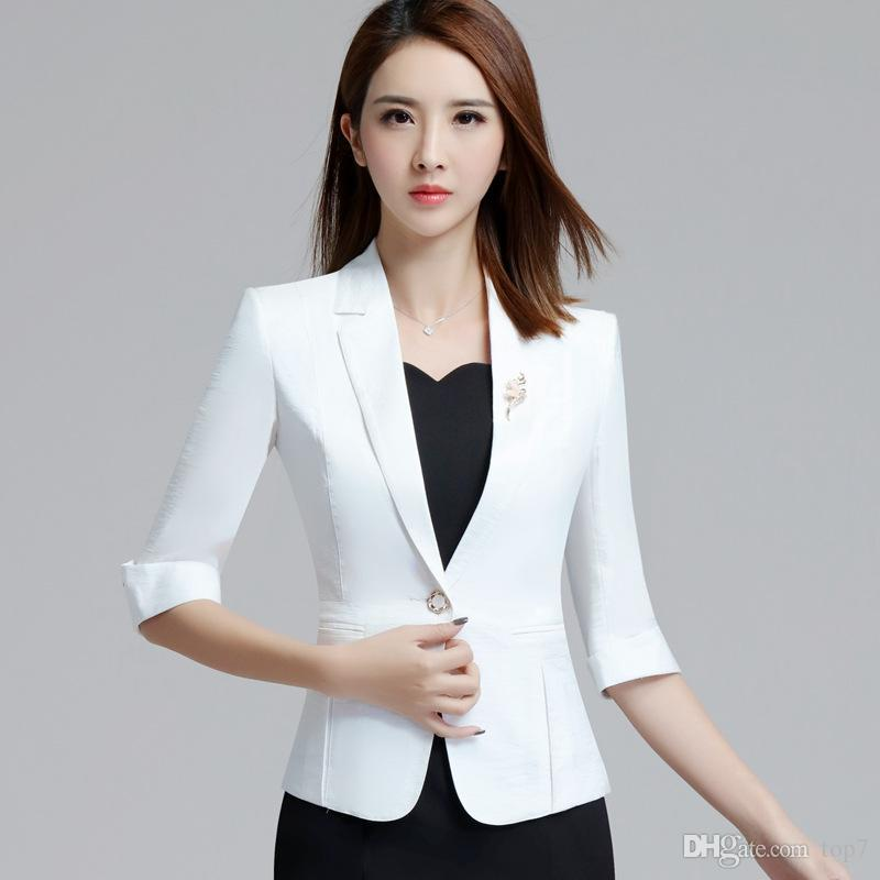 d24aa25d0066 2019 2018 White Blazer Women Jacket 3XL Plus Size 3/4 Sleeve One ...