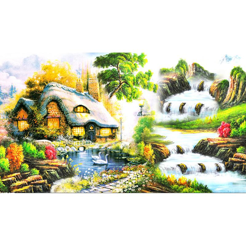 5D Full Square Diy Diamond Painting Cross Stitch Pattern Diamond Embroidery Idyllic scenery Room Decor