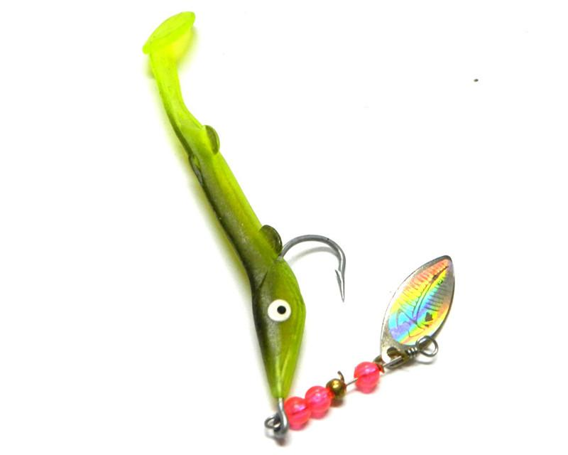Metal Spinner+Silicone Rubber Worms Fishing lure 6.2g Freshwater Fishing VIB Soft lure wit single hook