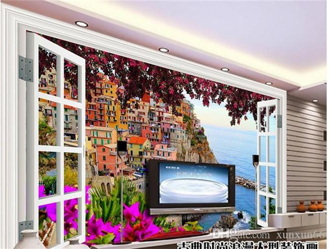 사용자 정의 3D 벽화 벽지 발코니 풍경 벽에 대 한 부직포 벽지 3D 거실 3D 입체 벽지