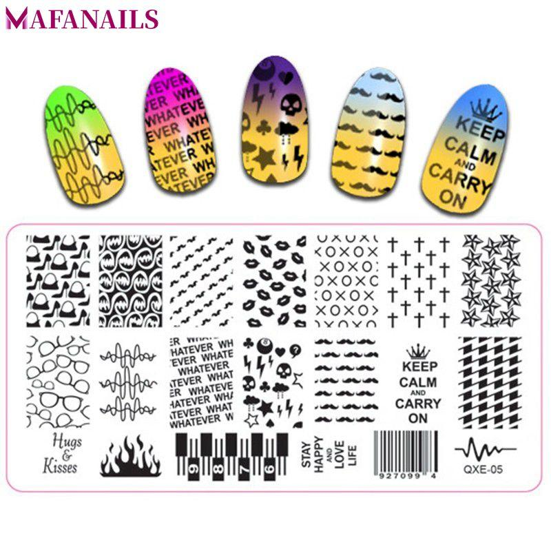New 612cm Nail Art Stamping Plates Number Glasses Fire Letters