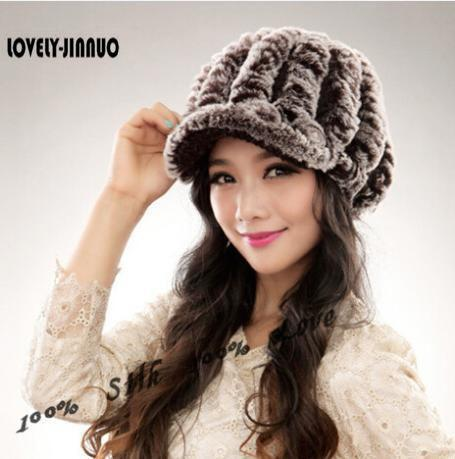 34b1b6528a526 2017 New Fashion Women Winter Genuine Rex Rabbit Fur Hat Girl Real Rex  Rabbit Fur Cap Elegant Winter Hat JN014 Baseball Caps Snapback Hats From  Boiline