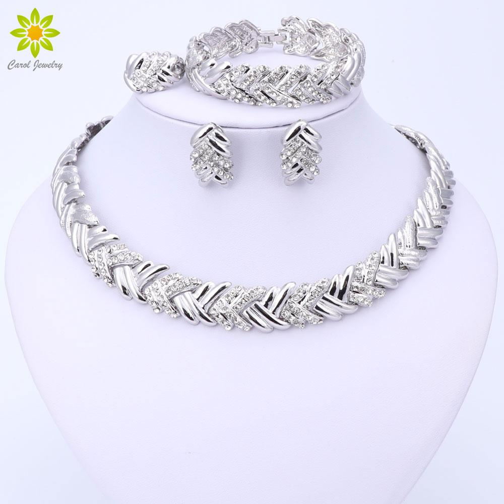 whole sale2017 Fashion Dubai Silver Plated Jewelry Sets Costume Big Design Nigerian Wedding African Beads Necklace Earrings Jewelry Sets
