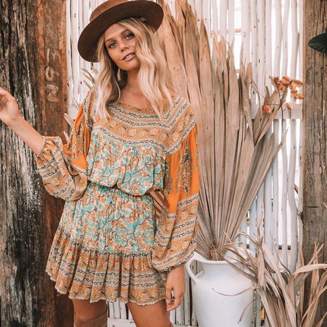 Jastie 2018 Summer Mini Skirt Gypsy Print Women Skirts Elastic Waist ... dc531dd2ae67
