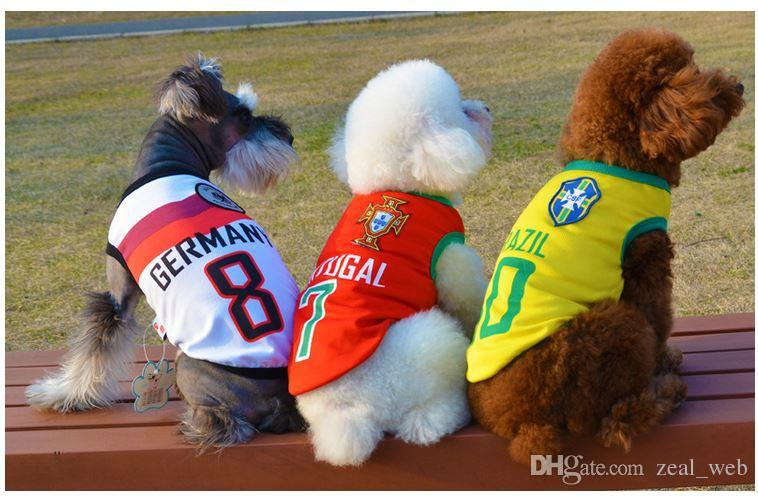 Digital Gear Bags Pet Soccer Jersey Vest New Cotton Breathable World Dog Jersey National Football Team Costume Dogs T-shirt