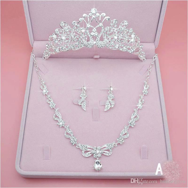 Shining Three Pieces Bridal Jewelry Accessories 2018 Crystal Pearls