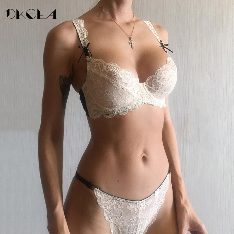 e808ffefb 2018 Ultrathin Underwear Sexy Plus Size 38 40 White Lace Bra Embroidery  Women Transparent Lingerie Set Brand Brassiere YOf Sexy Girls Sexy Sets  From ...