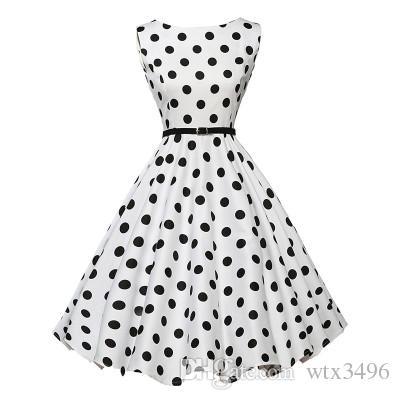 4ba2b5321fb22 Polka Dot Print BoatNeck Sleeveless 50s Vintage Dress With Strap S 2XL  Hepburn Style Slim Waist Swing Dresses Cotton Casual Dress With Strap Short  Black ...