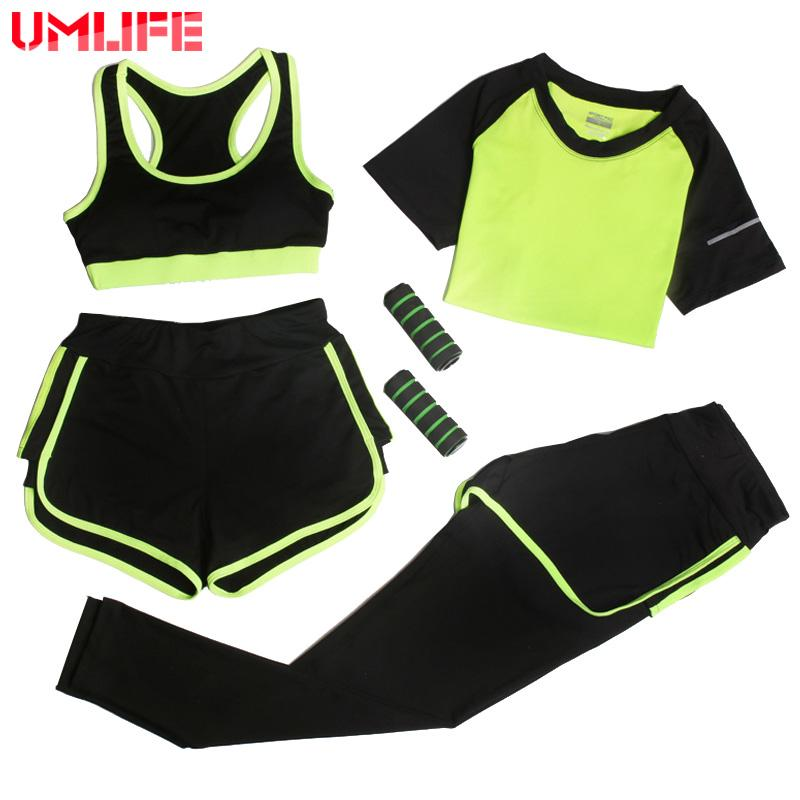 UMLIFE 4 Piece Set Women Sport Suit Workout Fitness Yoga Suit Yoga Bra+T-shirt+Shorts+Yoga Pants Sexy lady Slim Clothes