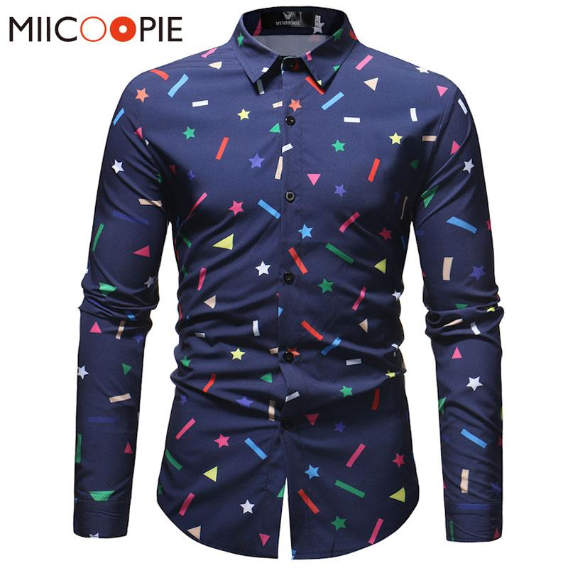 e3e1b5aba 2019 Spring New Men Shirt Long Sleeved Star Geometry Printed Slim Men  Holiday Party Shirt Fashion Business Social Dress From Fullcolor, $21.47 |  DHgate.Com