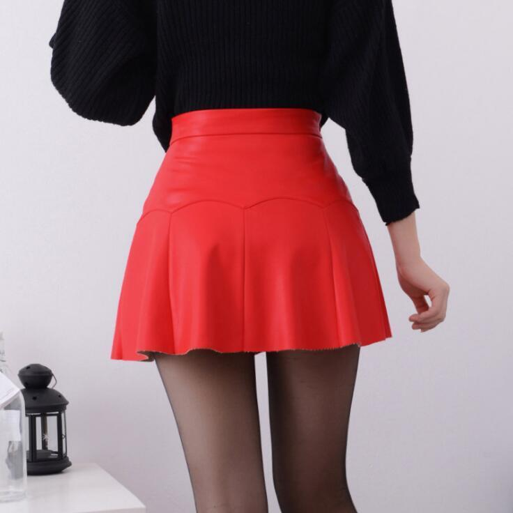 48f50444aa 2019 2017 Autumn Vintage Women Fashion Korean Sexy Pleated Skirt High Waist  Black Red PU Leather Skirts Vintage Short Mini Skirts From Modeng02, ...