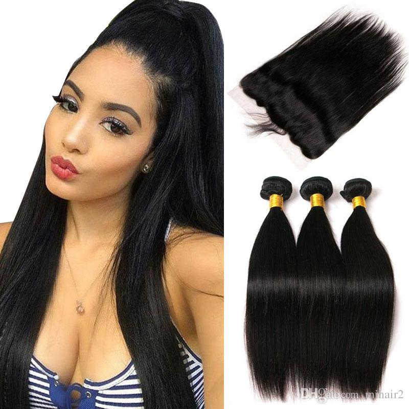 Malaysian Straight Human Hair Weave 3 Bundles With Frontal Closure