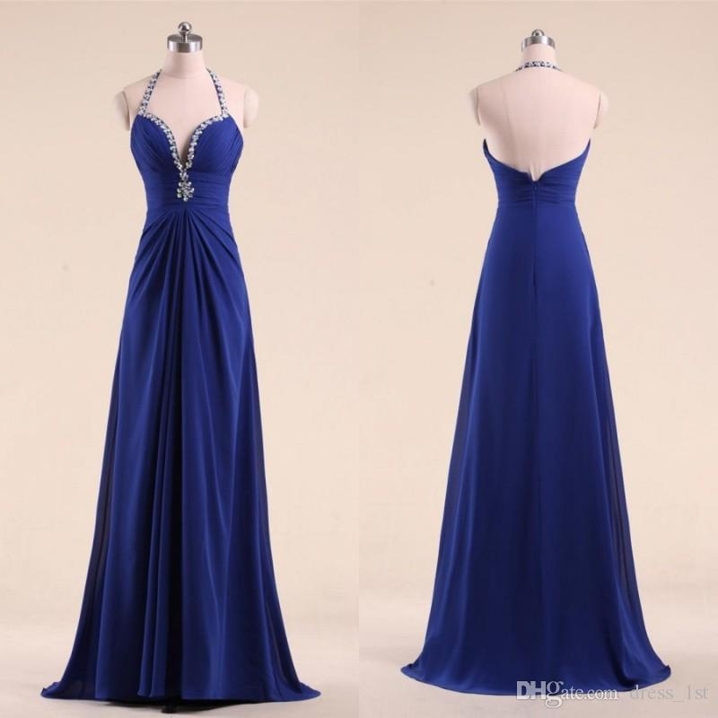 Cheap Royal Blue Prom Dresses 2018 Model Beaded Halter Neckline ...