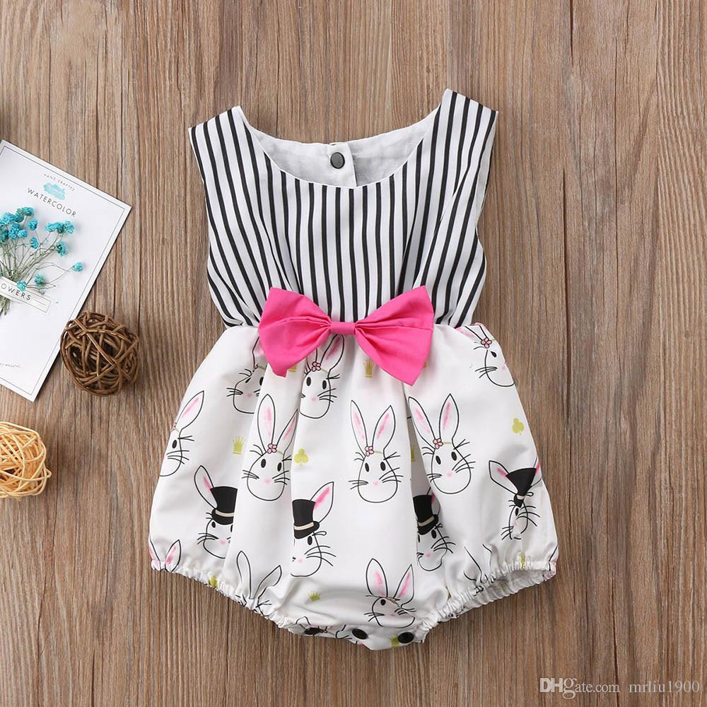 e4476328b336 2019 2018 Summer Adorable Baby Dresses Rompers Newborn Baby Girl Bunny  Rabbit Sleeveless Striped Jumpsuit Bowknot Baby Clothes Kids Clothing From  Mrliu1900