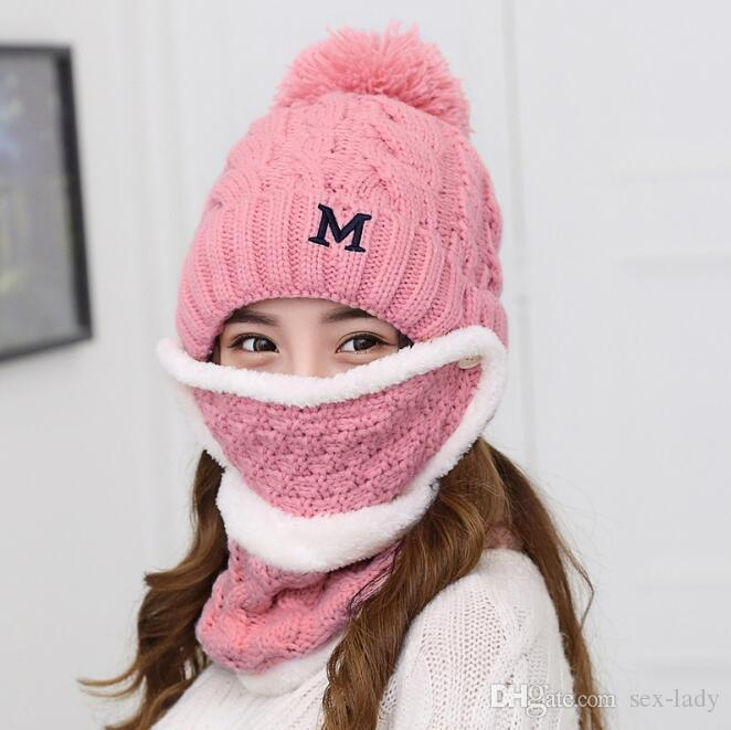 13c723312f7 2019 New Winter Girl S Full Face Mask Hat Caps Scarf Set Knitted Warm Thick  Windproof Balaclava Multi Functional Knit Cap For Women From Sex Lady