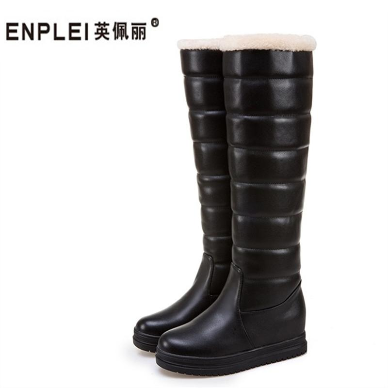 8bb28b5d35 ENPLEI winter new women's boots round head flat bottom increased anti-skid  warm snow boots size 40-43