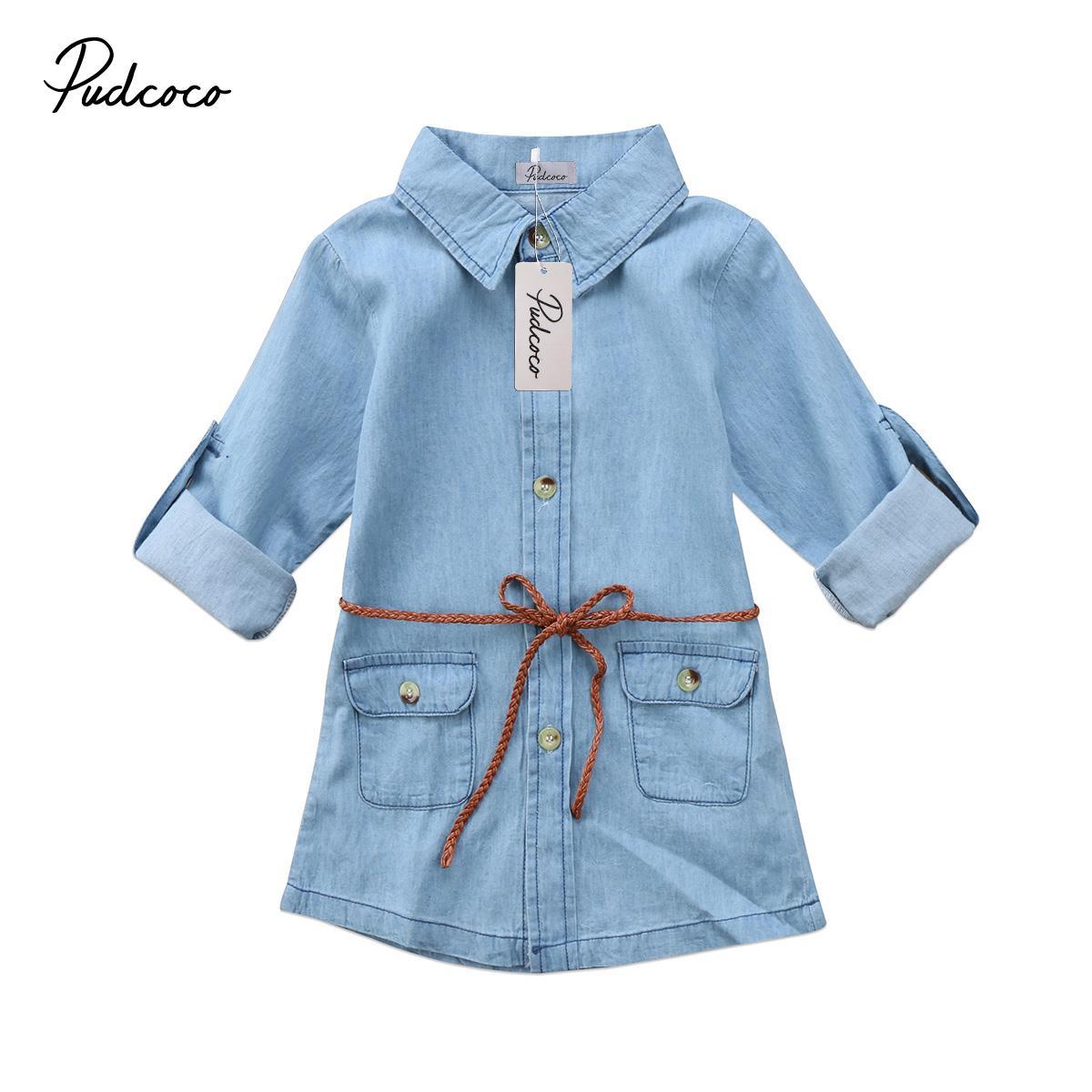 Helen115 Adorável Crianças menina roupas de Manga Comprida Jeans Denim Bolso Camisa Solta Vestidos 2-7 Anos