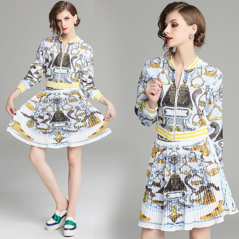 e173a9e6eb5e1 Neue 2018 Herbst Runway zwei Stück Frauen Damen Sets Vintage Print Tops  Sweatshirt Bluse Jacke Mantel + Minirock Kleid Anzüge Langarm