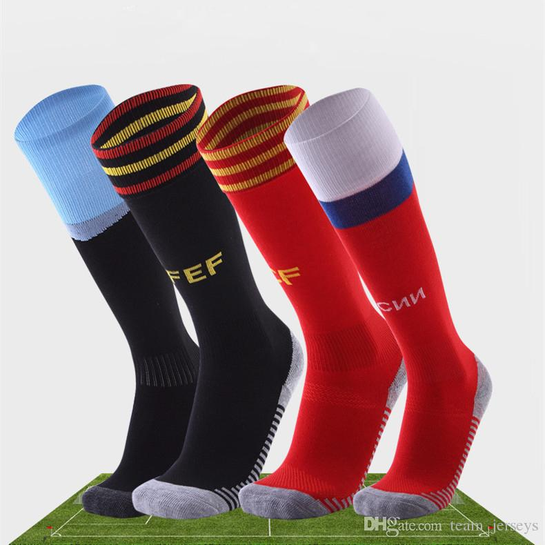 d3166df46 2019 Men National Team Soccer Socks World Cup 2018 Adult Non Slip Long Knee  Football Sock For Ronaldo Messi Suarez Ramos Hazard No Jerseys Shirts From  ...