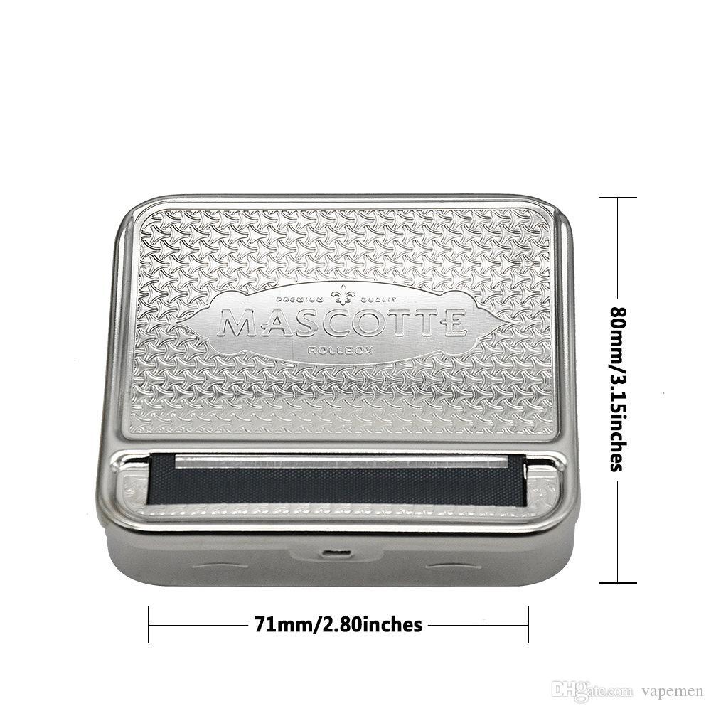New Design Metal Tobacco Roller Cigarette Making Maker Rolling Machine Cigarette Box 70mm*80mm Free Shippin Silver OEM LOGO
