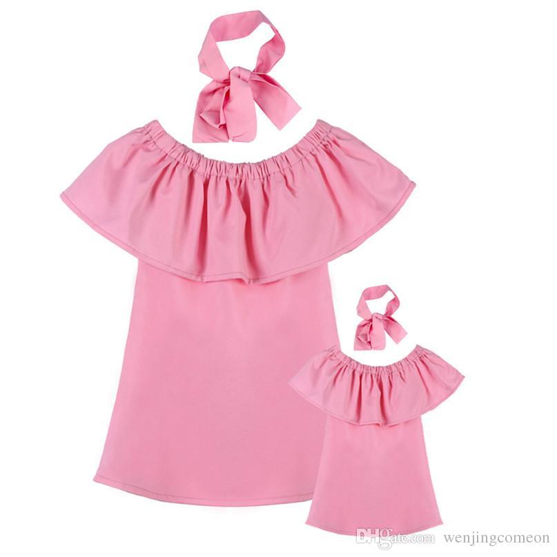 엄마와 딸 엄마에 대한 복장 아기 가족에 맞게 옷 엄마와 나 옷 패션 가족 세트시 폰 드레스 어머니 아이