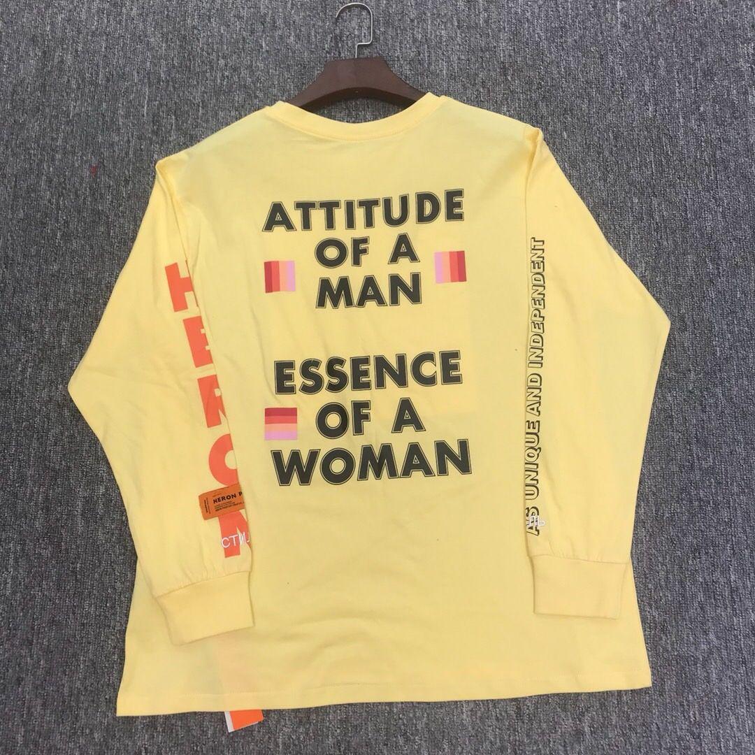 Best Version HERON PRESTON Heron Printed Women Men T shirts Tees Hiphop Streetwear Men Cotton Long Sleeve T shirt
