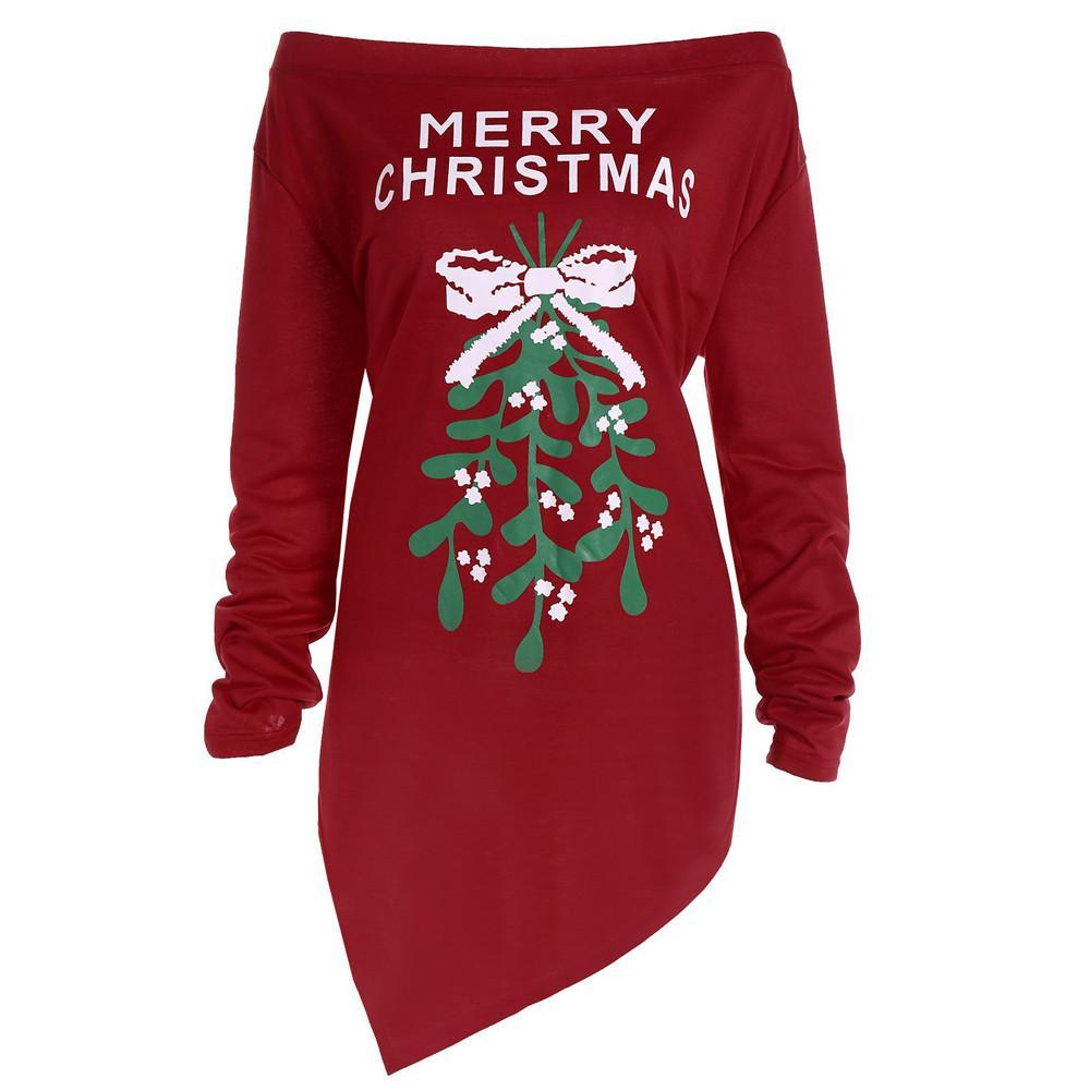 784561f6b5726 Off Shoulder Strapless Dress Xmas Print Letter Women 2018 Christmas ...