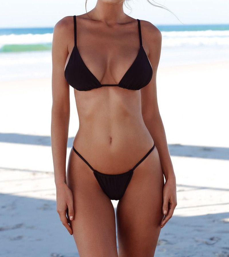 2018 Sexy Micro Bikini Push-Up Bademode Frauen Badeanzug Weibliche Feste Tanga Brasilianische Bikinis Set Strand Schwimmen Tragen Badeanzug