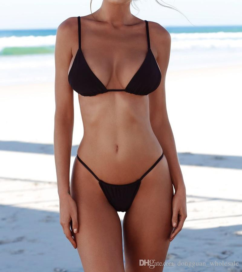 2018 Sexy Micro Bikini Push up Traje de baño Mujer Traje de baño Mujer Solid Thong Bikinis brasileños Set Ropa de baño en la playa Traje de baño