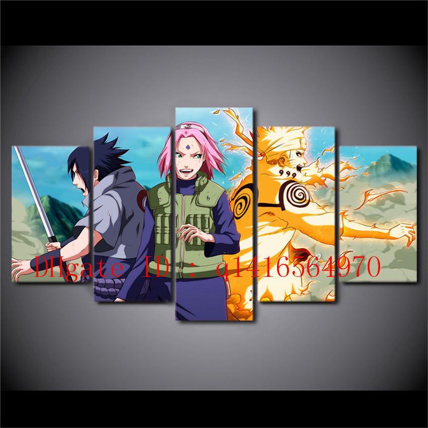 Compre Naruto Uzumaki Naruto, 5 Piezas De Lienzo Prints Arte De La ...