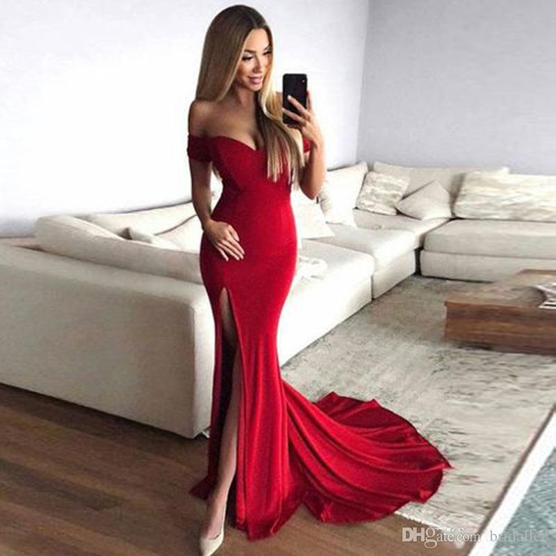 aabec97917 2018 Mermaid Off Shoulder Slit Red Prom Dress Red Long Evening Dresses For  Party Events Custom Made Dresses Prom Lace Formal Dresses From Bridallee,  ...