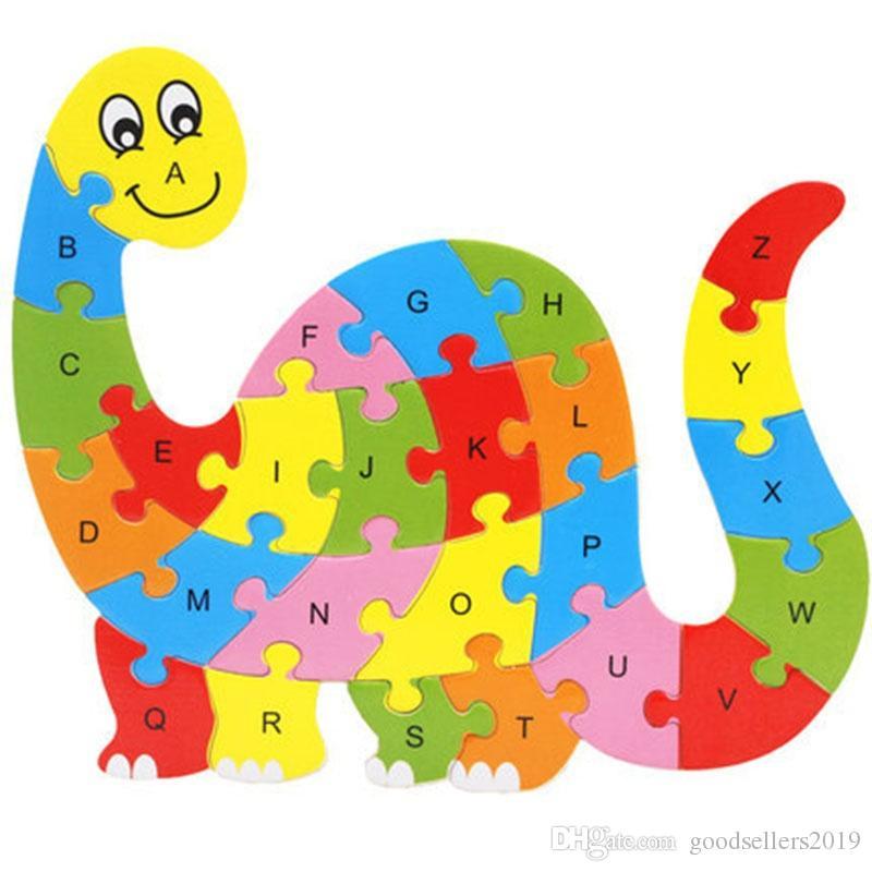 26 Padrões de Animais De Madeira Alfabeto Early Learning Jigsaw Puzzle Para As Crianças do bebê Educacional Learing Brinquedos Inteligentes Bloco de Quebra-cabeça