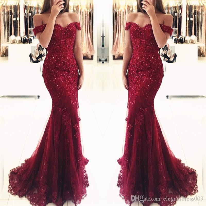 2019 Dark Red Arabic Sequin Burgundy Mermaid Prom Dresses Long Off Shoulder Pleats Beaded Crystals Floor Length Formal Party Evening Dress