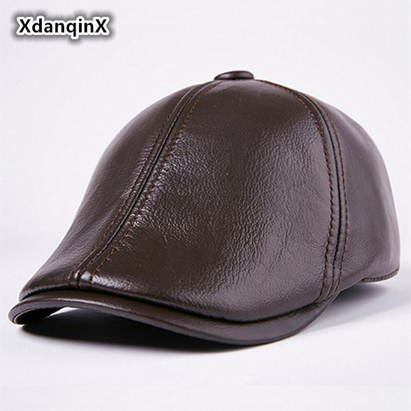 Adult Leather Hats Men s Winter Hat Warm Cowhide Berets With Ears Thermal  Snapback Fashion Tongue Caps Male Bone Brand Dad s Cap Fashion Beret Men  Hats ... 87ba31d2370f