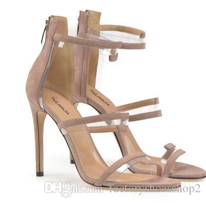 053c2a15bad PVC Strappy High Heeled Nude Sandals Plexi Sliver Dress Shoes Black Women  Summer Shoes Purple Ladies Stiletto Heels With Zipper High Heel Shoes  Wholesale ...